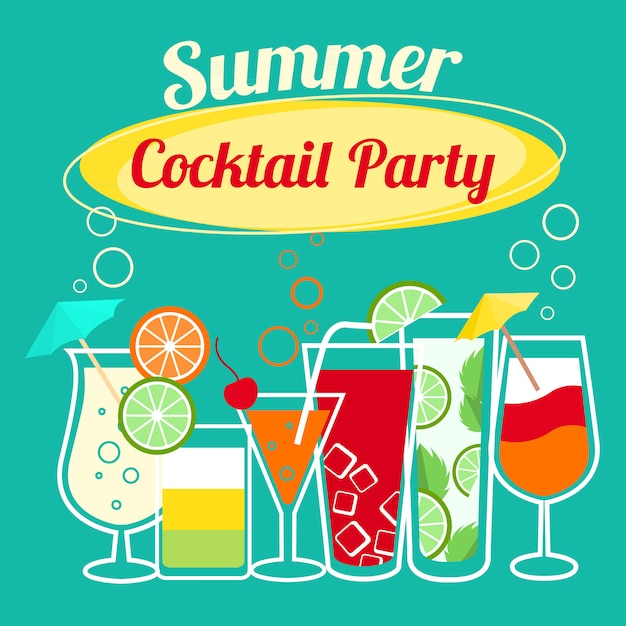 Summer cocktails party banner invitation flyer card template Free Vector