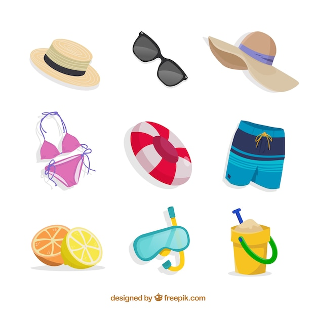 Summer collection with elements in hand drawn style Free Vector