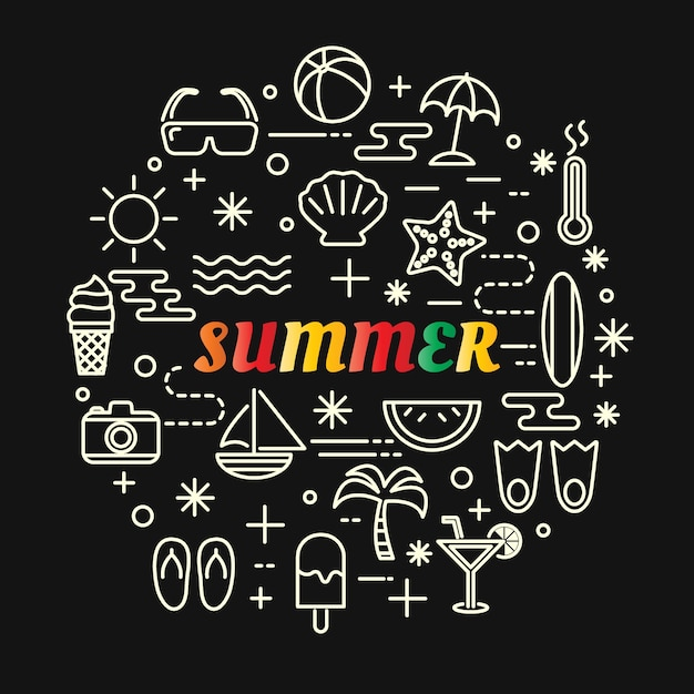 Summer colorful gradient with line icons set Premium Vector
