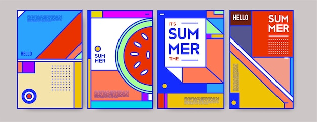 Summer colorful poster template. Premium Vector