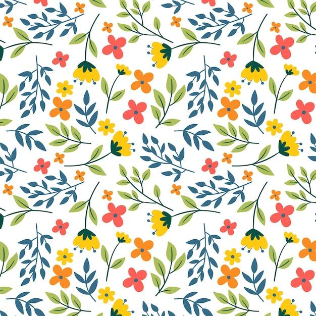 夏のカラフルな花柄のテンプレート 無料ベクター
