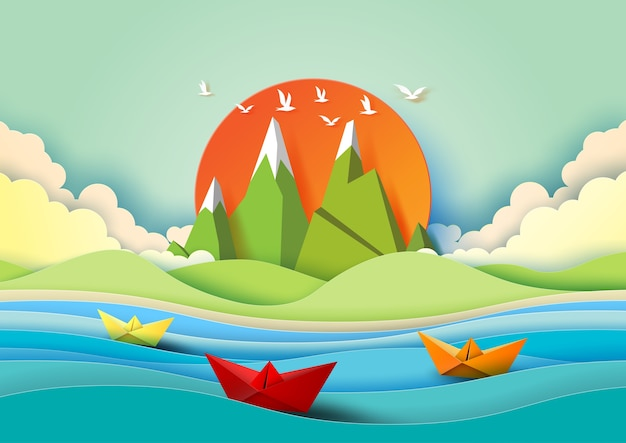 Summer concept with color paper. Premium Vector