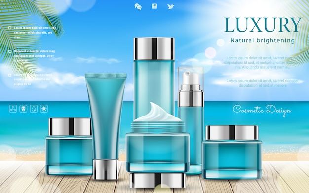 Summer cosmetic set ads with wooden table elements, palm leaves and bokeh background. Premium Vector