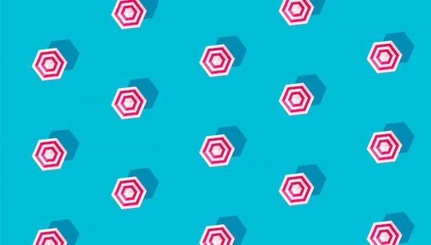 青色の背景に分離されたパラソルと夏の創造的なパターン。 Premiumベクター