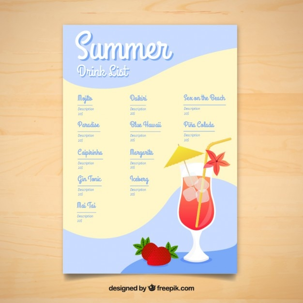 Summer delicious drinks menu template