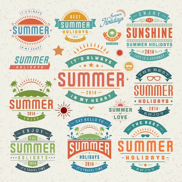 Summer design elements and symbols typographic labels and badges Premium Vector