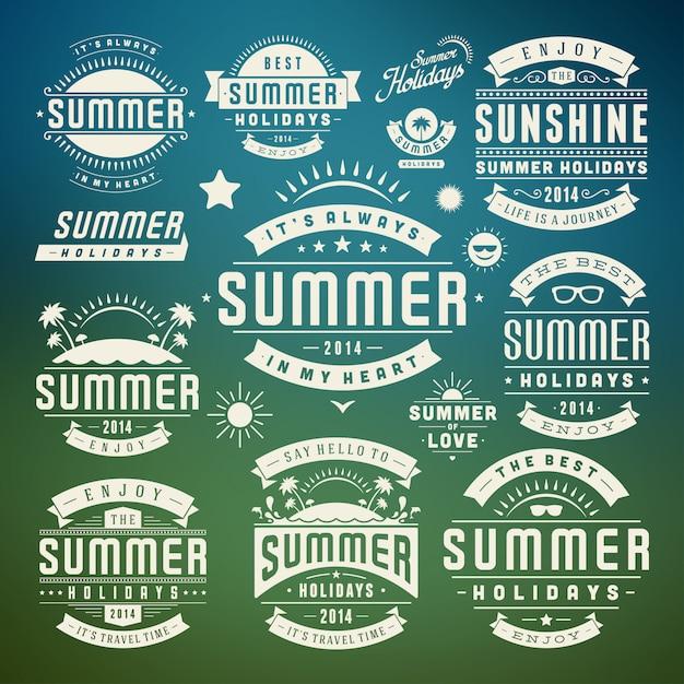 Summer design elements and symbols typographic labels and badges Premium Vector