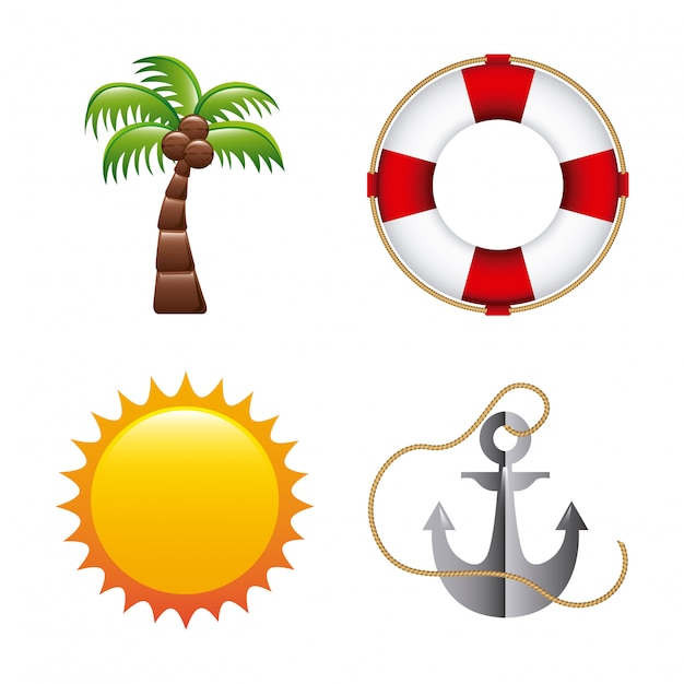 Summer design over white background vector illustration Premium Vector