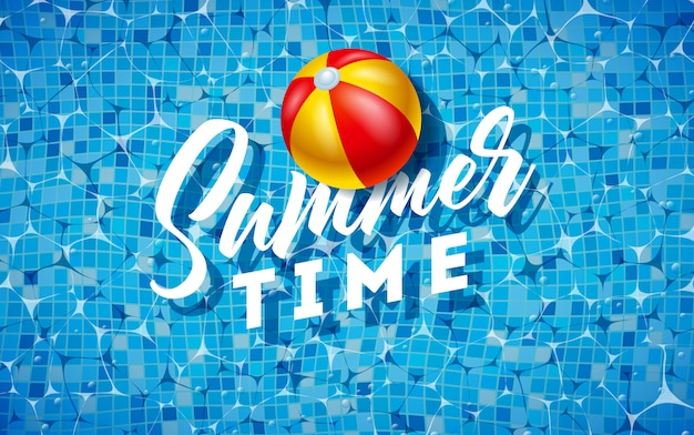 Summer design with beach ball on water in the tiled pool Premium Vector