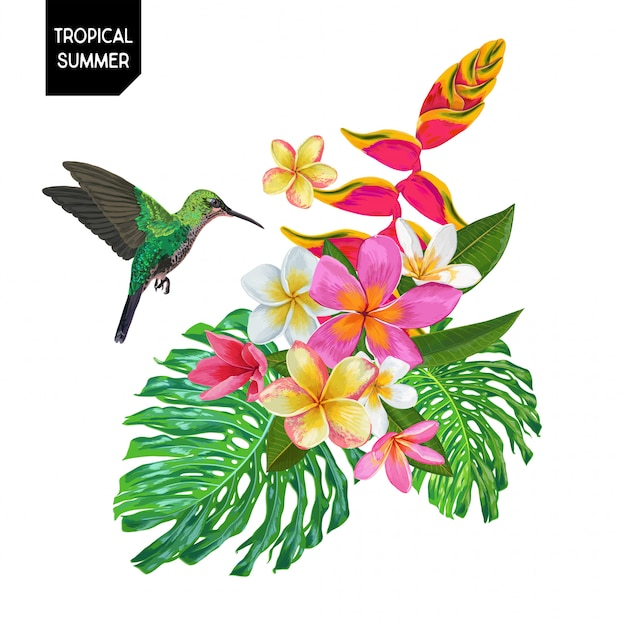 Summer design with hummingbird and flowers Premium Vector
