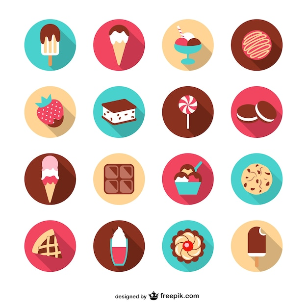 Summer desserts set Free Vector