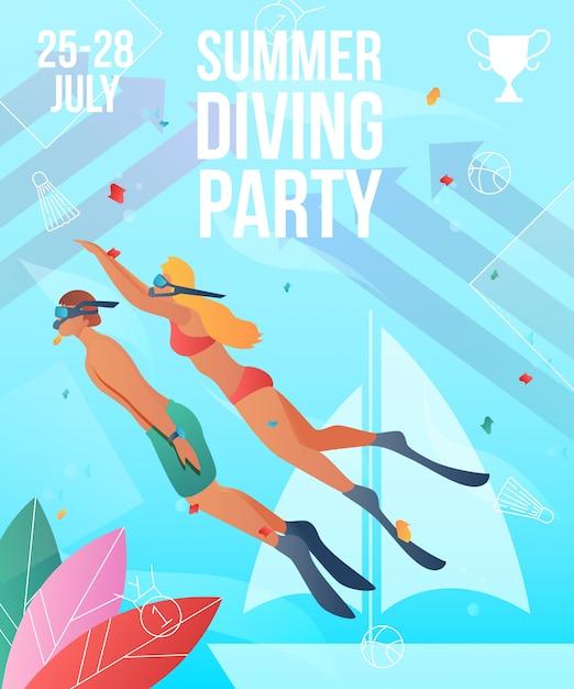 Summer diving party poster template. gradient cartoon flat characters Premium Vector