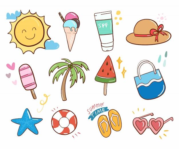 Summer doodle cute collection item cartoon vector. Premium Vector