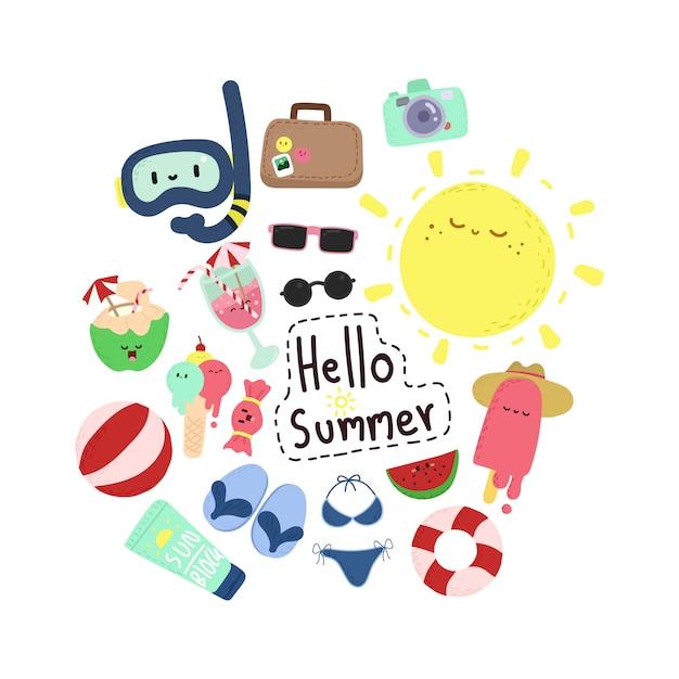 Summer doodle elements Premium Vector