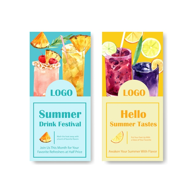 Summer drink flyer template Free Vector