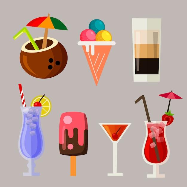 Summer drink icon element set Premium Vector