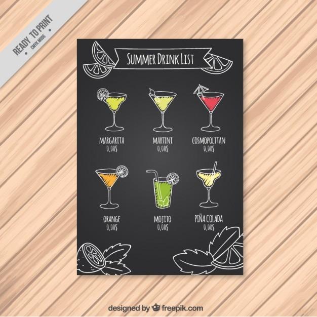 Summer drink list on a chalkboard Premium Vector