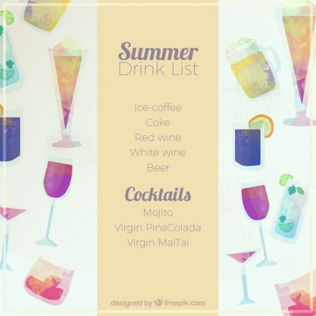 Summer drink list in watercolor effect