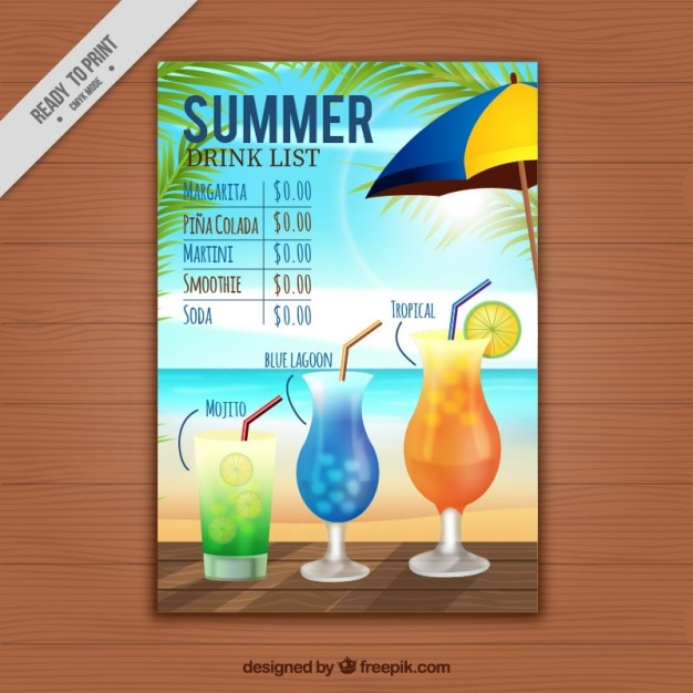 Summer drink list template