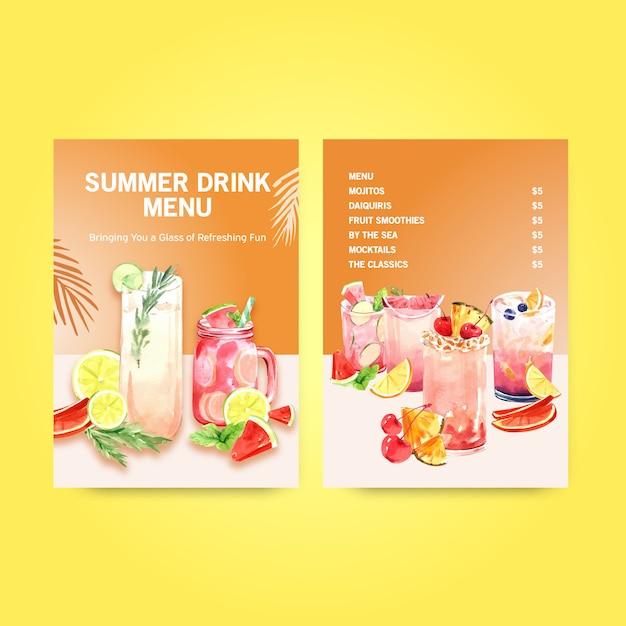 夏の飲み物メニューテンプレート 無料ベクター