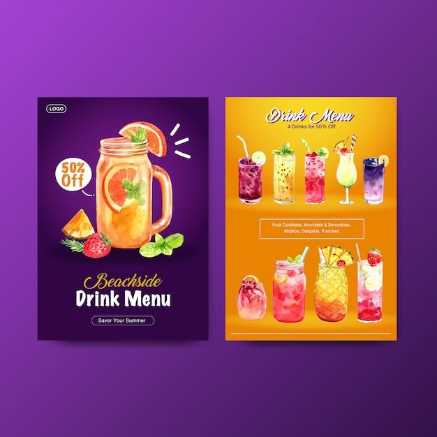 Шаблон меню летнего напитка Бесплатные векторы