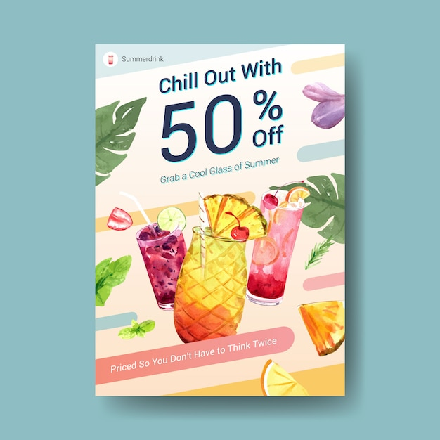 Summer drink poster template Free Vector