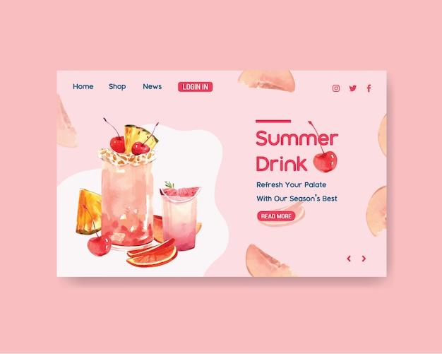 Summer drink website template Free Vector