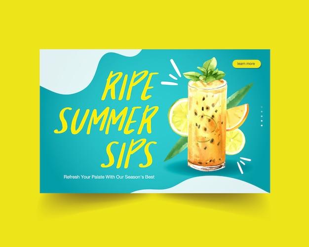 Modello di sito web di bevande estive Vettore gratuito