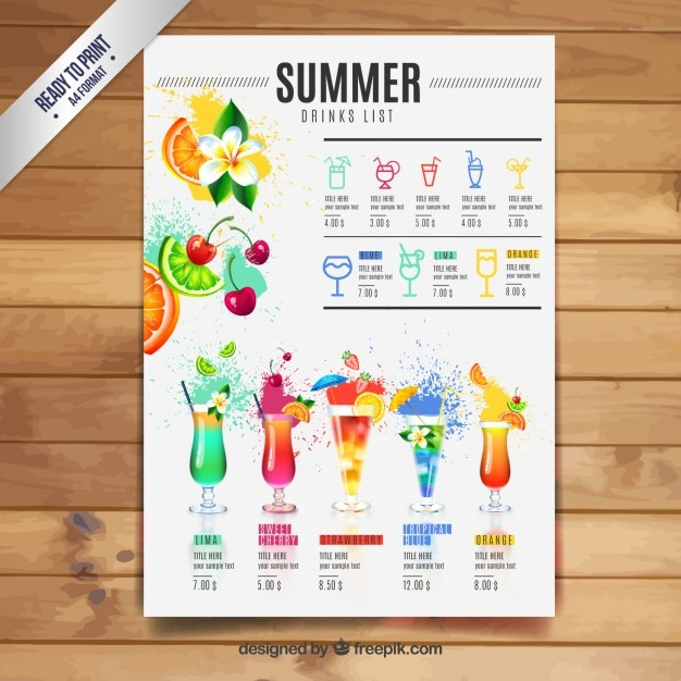 Summer drinks list Premium Vector