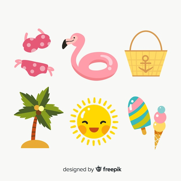 Summer element collection flat design Free Vector