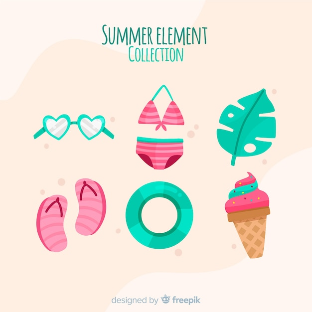 Summer element collection Free Vector
