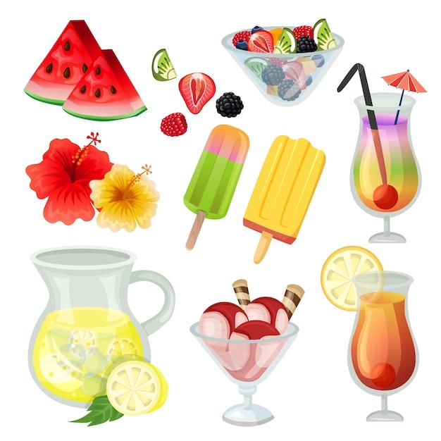 Summer element icon refreshment icon set vector illustration Premium Vector