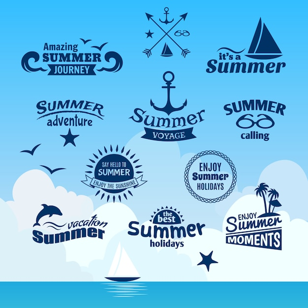 Summer element label Free Vector