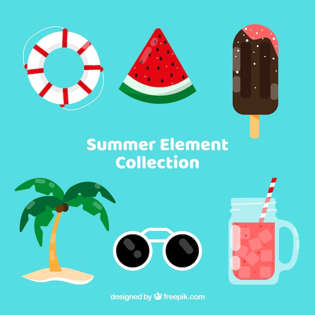 Summer elements collection in flat style Free Vector