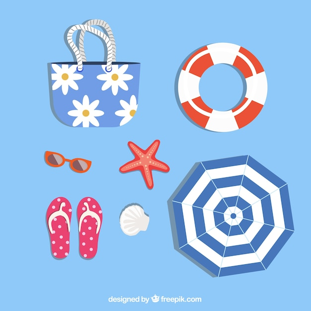 Summer elements collection with clothes in flat style Free Vector