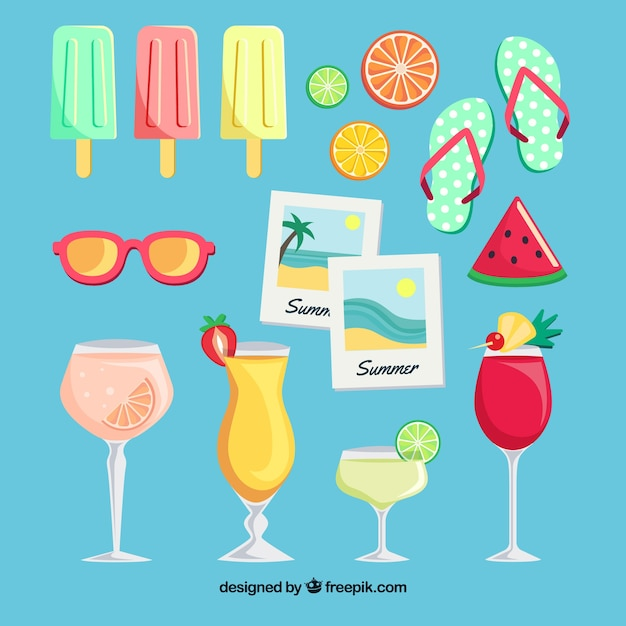 Summer elements collection Free Vector