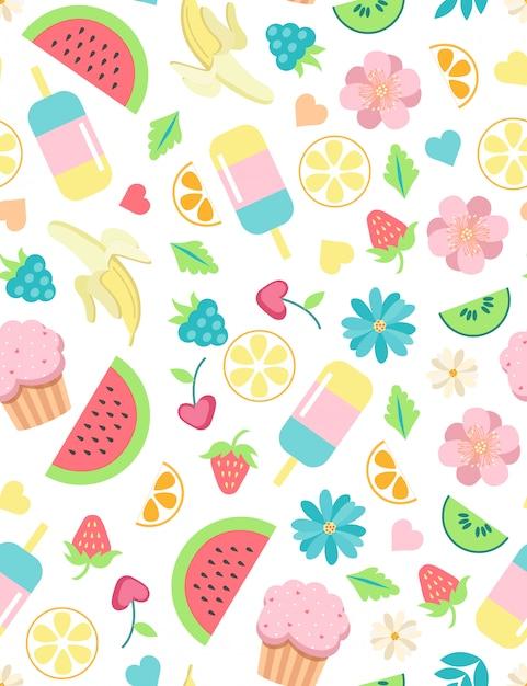 Summer elements cute seamless pattern Premium Vector