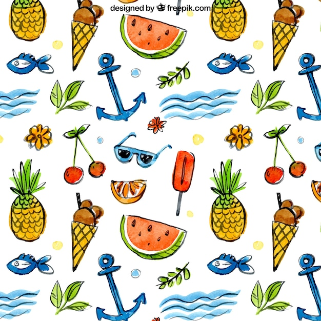 Summer elements and fruit pattern Free Vector