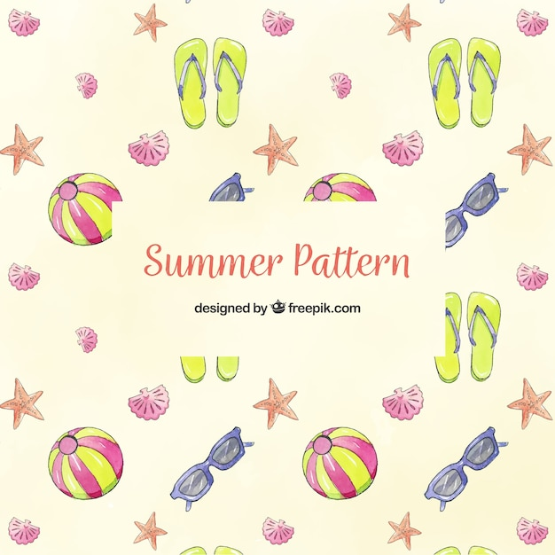 Summer elements pattern with beach elements Free Vector
