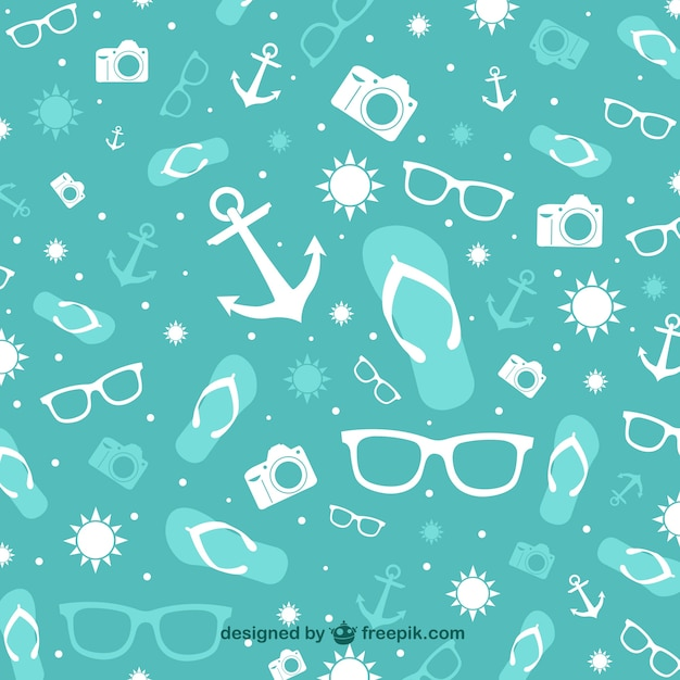 Summer elements turquoise background Free Vector