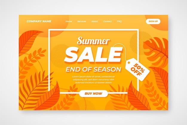 夏の終わりの販売ランディングページ 無料ベクター