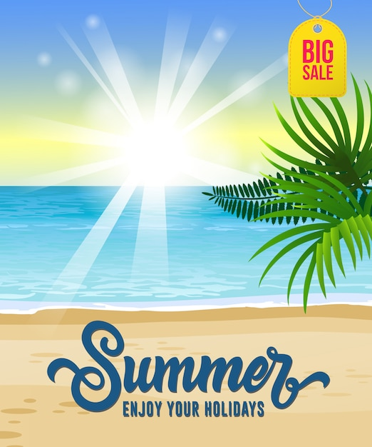 Summer, enjoy your holidays, big sale seasonal poster with ocean, tropical beach Free Vector