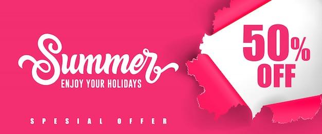 Summer Enjoy your holidays Fifty percent off lettering.  Free Vector