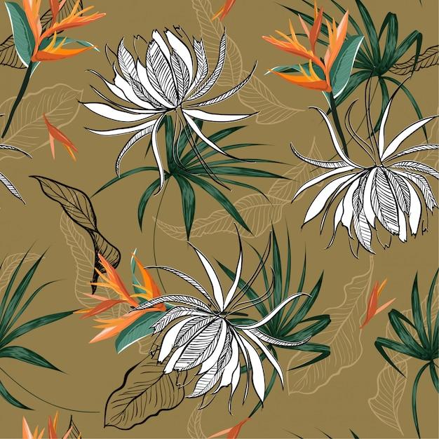 Summer exotic flower seamless pattern Premium Vector