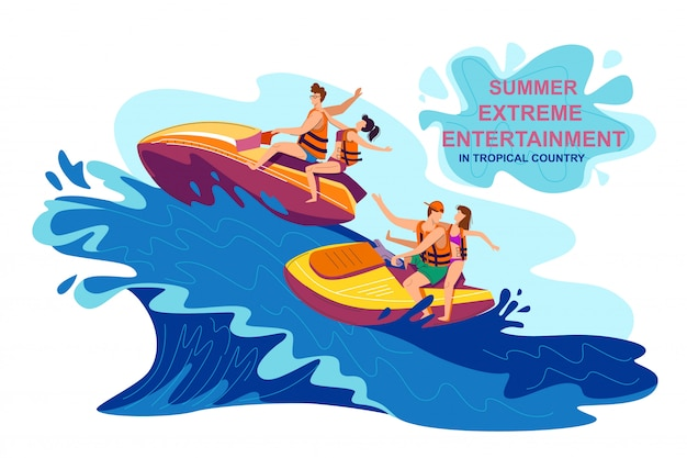 Summer extreme entertainment in tropical country Premium Vector