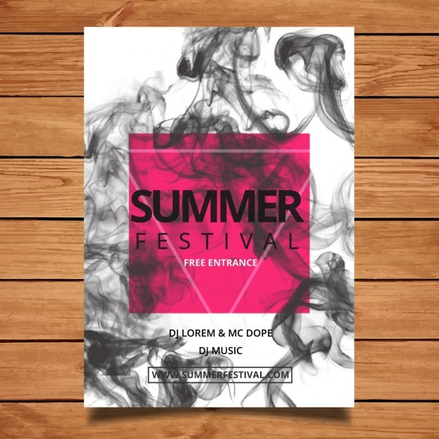 Summer festival flyer with smoke Free Vector