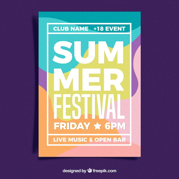 Summer festival poster in abstract style