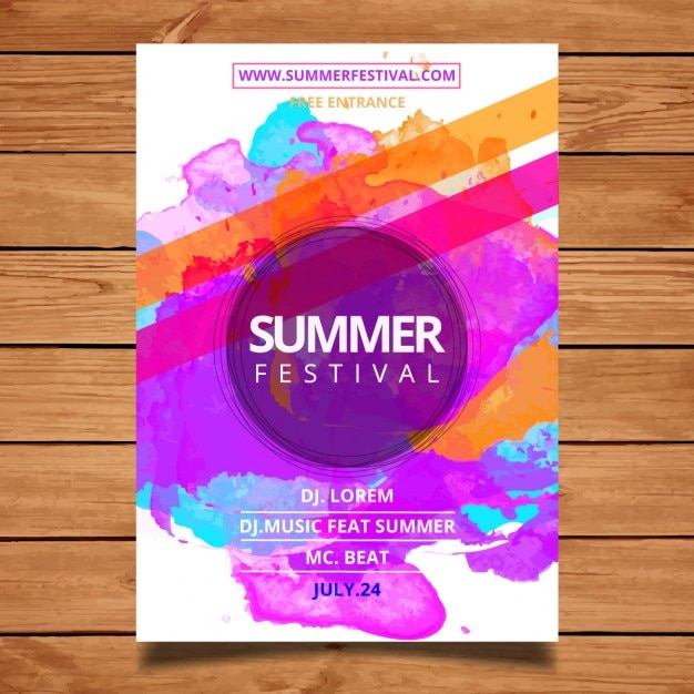Summer festival poster template Vector | Free Download