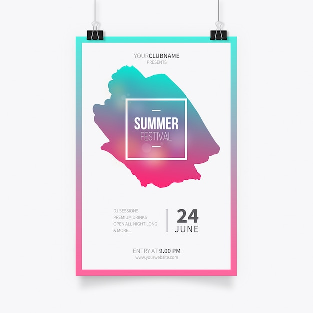 Summer festival poster template Free Vector