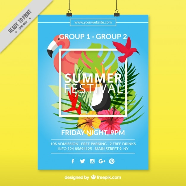 Summer festival poster with tropical birds and\ palm leaves